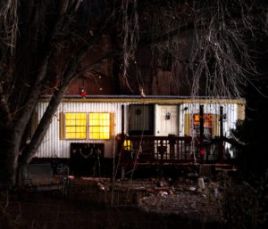 Portfolio, Moss Image Chris Moss, Art, Moss Image, Moab Photographer, mobile home in the dark with trees in front