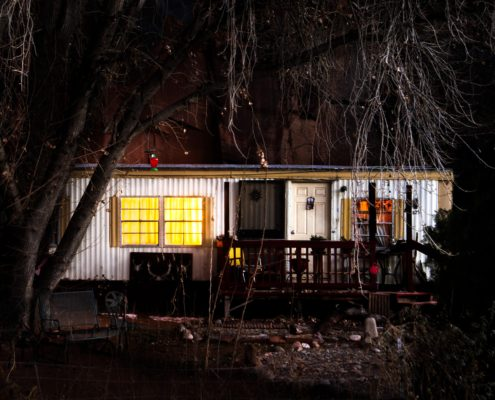 Art, Chris Moss, Portfolio image of conceptual art trailer house at night with trees