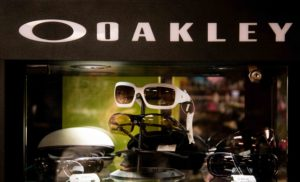picture of white oakley sunglasses in a display case