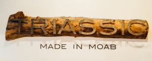 marketing, photo of metal letters on a piece of wood spelling triassic