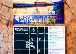 flyer of moab art walk with a wood background