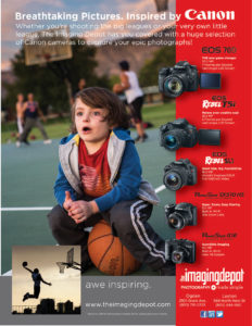 advertisement with boy sitting on basketball and cameras on the edge