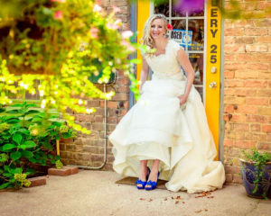 Moss Image - Moab Photographer - Weddings - Portraits - Girl in wedding dress with blue shoes