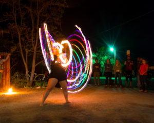 picture of girl dancing in the dark with lights