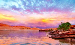 Landscape, Lake Powell, Moss Image, Moab Photographer, lake with cliffs and bushes