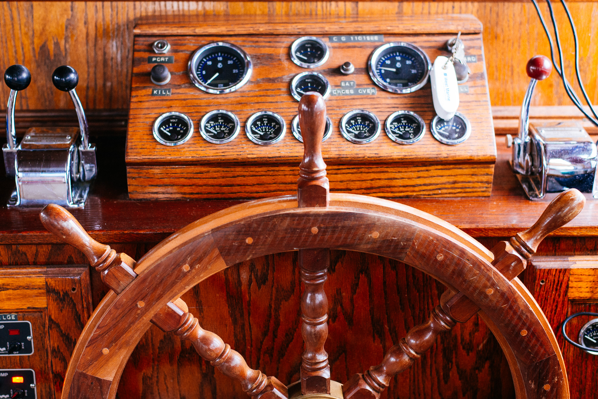 Cuba, wooden steering wheel on boat