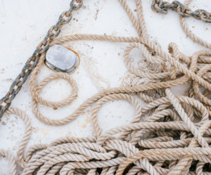 Ropes and chain on boat deck, moss image, chris moss, moab photographer, travel