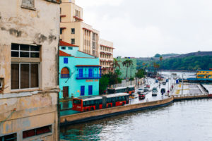 Moss image, blue building in cuba, travel