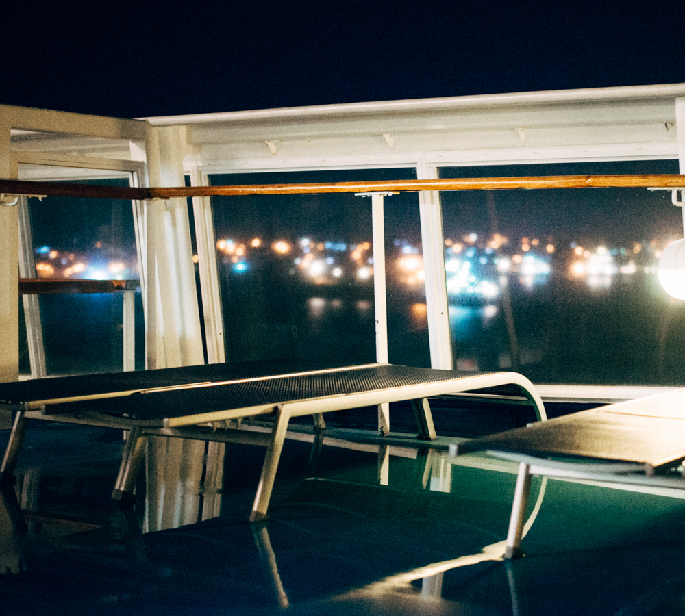 moss image, deck chairs at night, travel