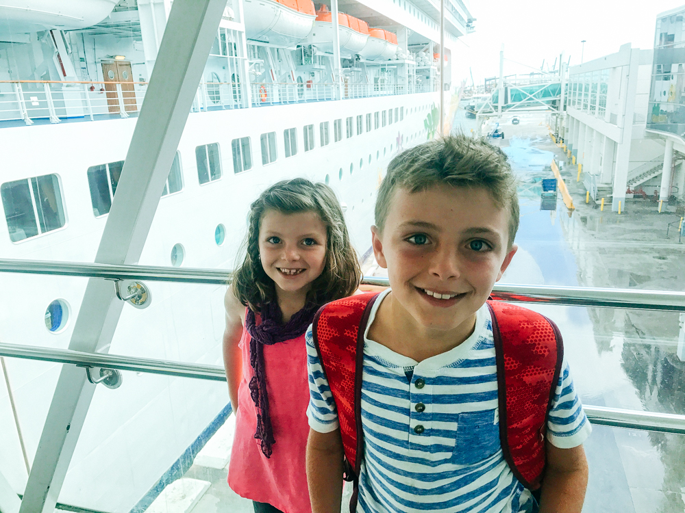 two kids getting on a cruise ship, travel, cuba